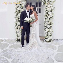 Stunning High Quality Lace Appliques Mermaid Wedding Dress Plunging Deep V Neck Sleeveless Open Back Beach Bridal Gowns Train plunging neck lace splicing dress