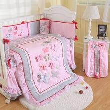 цена на Baby Bedding Set 3D Applique Embroidery Butterfly Pattern Crib Set Comfoter Sheet Crib Skirt Bumpers For Newborn Baby Girl