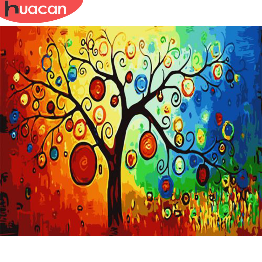 HUACAN Painting By Numbers Tree Scenery HandPainted Kits Drawing Canvas DIY Oil Pictures Fantasy Landscape Home Decor Gift