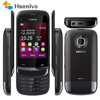 Перейти на Алиэкспресс и купить Мобильный телефон Nokia C2-03, 100% оригинал, разблокированный, две sim-карты, 2,6 дюйма, 2 Мп, Bluetooth, FM радио, Java, 1020 мАч, аккумулятор, бесплатная доставка