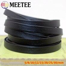 Bracelet Leather Cord Flat String-Rope Bags Edge-Accessories 3-30mm Black Soft DIY Meetee