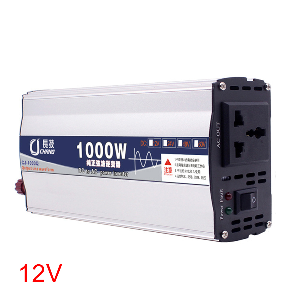 600W 1000W Portable Adapter Car Supply Surge Protection 12V 24V To 220V Home Use Pure Sine Wave Power Inverter LED Display