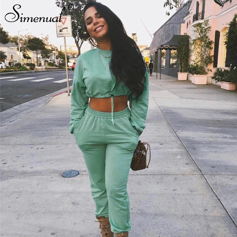 Simenual Casual Workout Women Matching Sets Solid Sporty Autumn Fashion Two Piece Outfits Long Sleeve Crop Top And Pants Set New