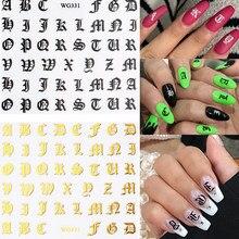 1 hoja arte de uñas pegatinas láser arcaico diseño de letras arte adhesivo para uña decoraciones estilo gótico Vintage elementos calcomanías de uñas