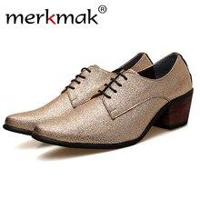Merkmak/мужские туфли-оксфорды; модельные туфли на шнуровке с острым носком на высоком каблуке; цвет золотистый, Серебристый; свадебные туфли для жениха; блестящие туфли для вечеринки и выпускного