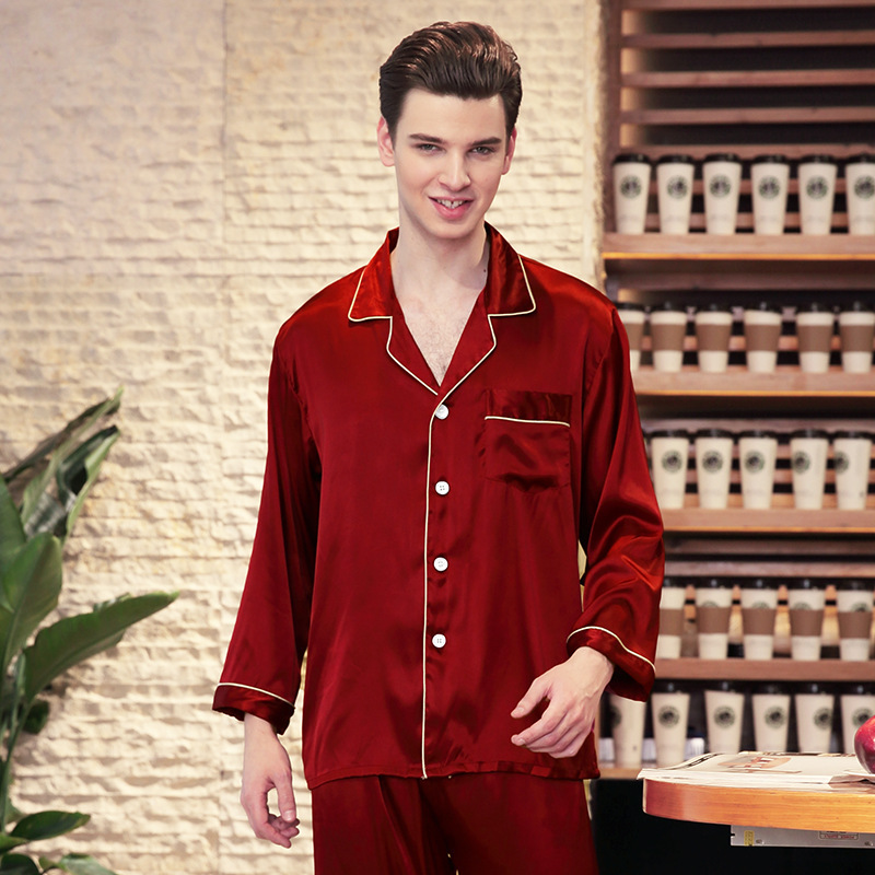Men's Stain Silk Pajama Set Long Sleeve Spring Autumn Sleepwear Sleep Wear Lounge Nightwear Pyjamas Pijama Male Top Bottoms Suit