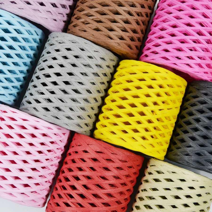 200Meter/Roll Holle Plaid Raffia Stro Papier Garen Hand Haken Garen Voor Diy Hoeden Handtassen Kussens Verpakking Materiaal