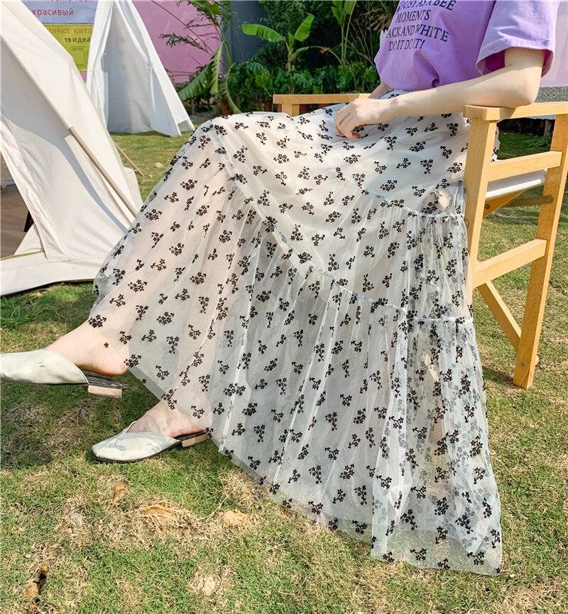 Женские юбки средней длины, летняя модная сетчатая юбка, женская одежда, пышные юбки с вышивкой и высокой талией, длинные юбки