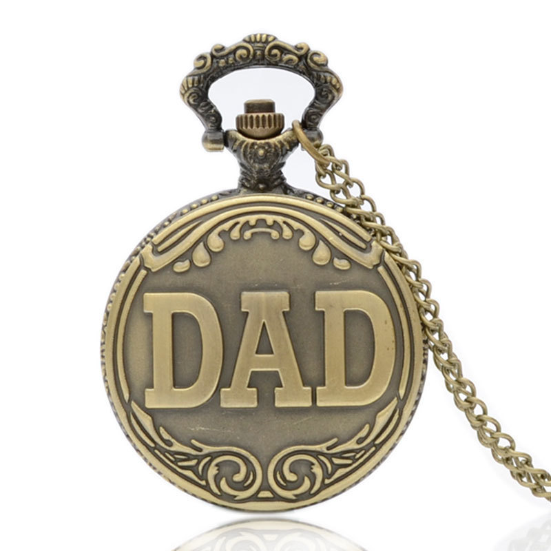 IBEINA Father's Day Full Hunter Quartz Engraved Fob Retro Pendant Pocket Watch Chain Gift For Dad