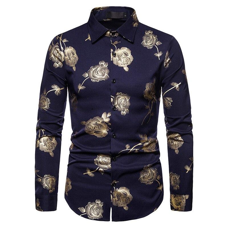 Рубашка мужская, мужские рубашки в ночном клубе 2019, с отворотом розы штампованные рубашки с длинным рукавом, мужские рубашки. Классические р...