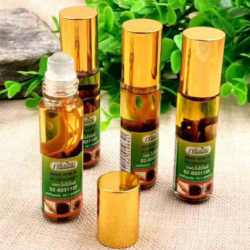 1PC Thai Green Herb Nasal Peppermint Oil Refreshing Brain Sickness Refreshing Oil Pain Relief Ointment Compound Essential Oil