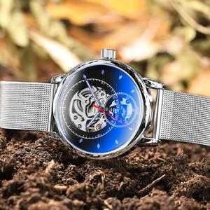 Image 2 - 男腕時計自動機械式時計の男性高級ブランドファッション中空カジュアルシルバーステンレス鋼 Whatch 時計