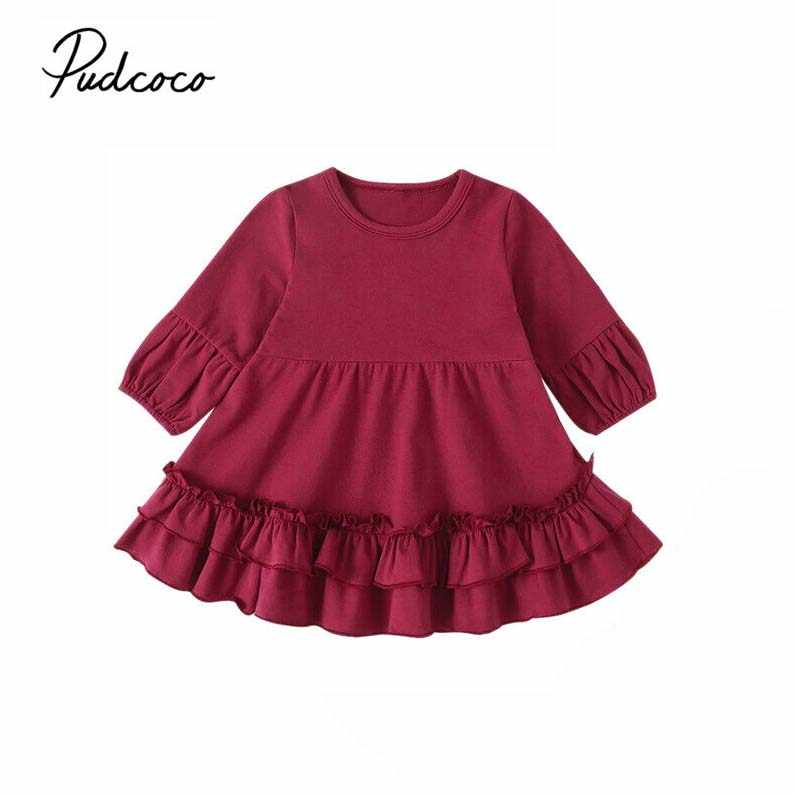 2019 Baby Spring Autumn Clothing Girl Christmas Winter Dress Newborn Toddler Infant Baby Girl Xmas Loose Ruffle Tutu Gown 0-3T