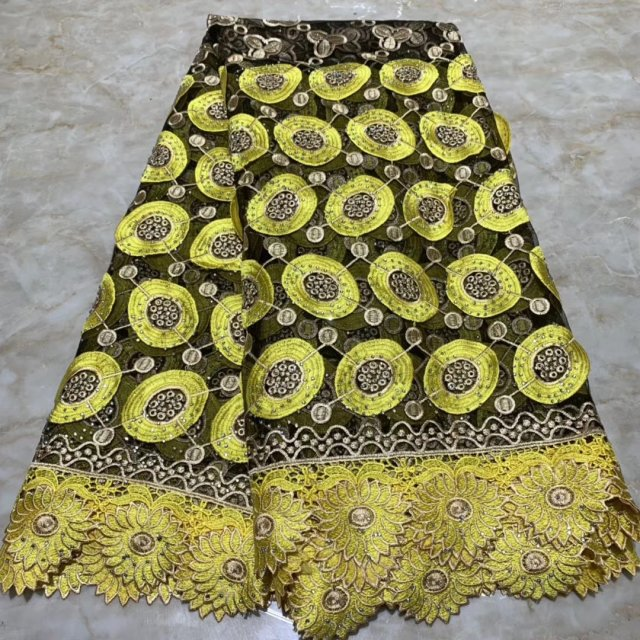 Yellow Latest African Lace Fabrics High Quality French Lace Pearls Tulle Embroidered African Nigerian Lace Fabric Party Dress