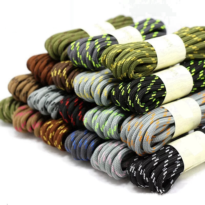 1 Pair Fine Round Shoelaces High Density Weaving Shoe Laces Outdoor Hiking Slip Rope Sneakers Boot Shoelace100/120/140/160CM