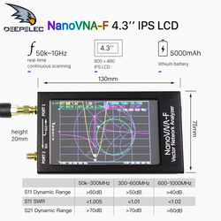 NanoVNA-F VNA SWR Meter VHF UHF Antenne Analyzer 1,5 GHz + 4,3 IPS LCD + Metall Fall