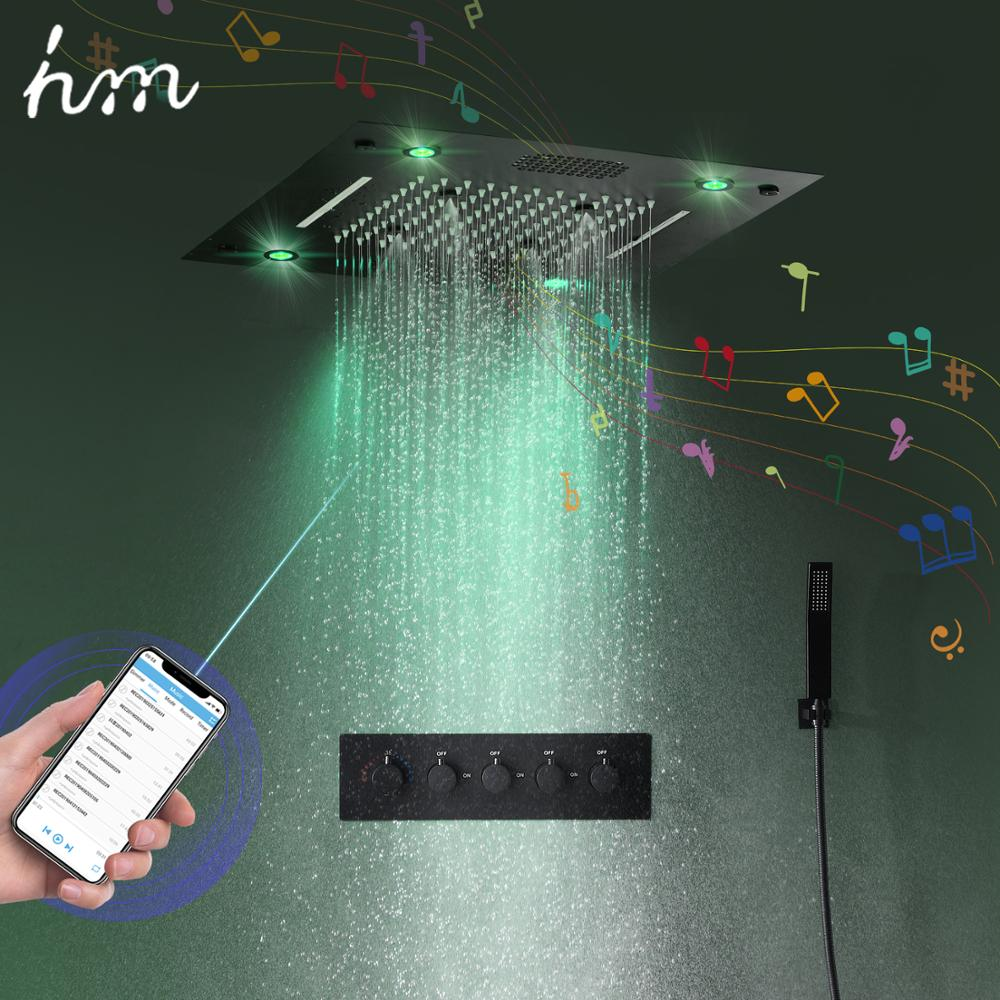 hm 2020 New Music Shower System Bathroom Smart LED Lighting Rainbow Waterfall Thermostatic 16 inch Music Shower Faucet Set image