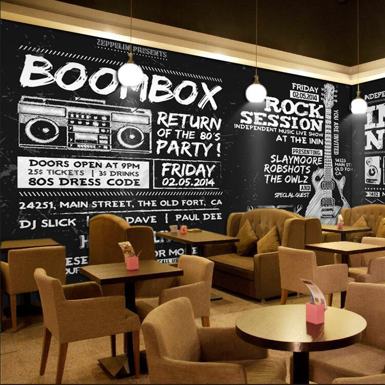 Retro Blackboard Cool Poster Background Wallpaper Bar Music Theme Wallpaper Hiphop Instrument Mural