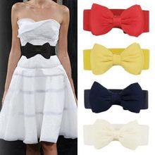 Quente nova mulher bowknot cummerbunds elástico arco largo estiramento bukle cintura cinto 7 cores ceinture femme cinturones mujer
