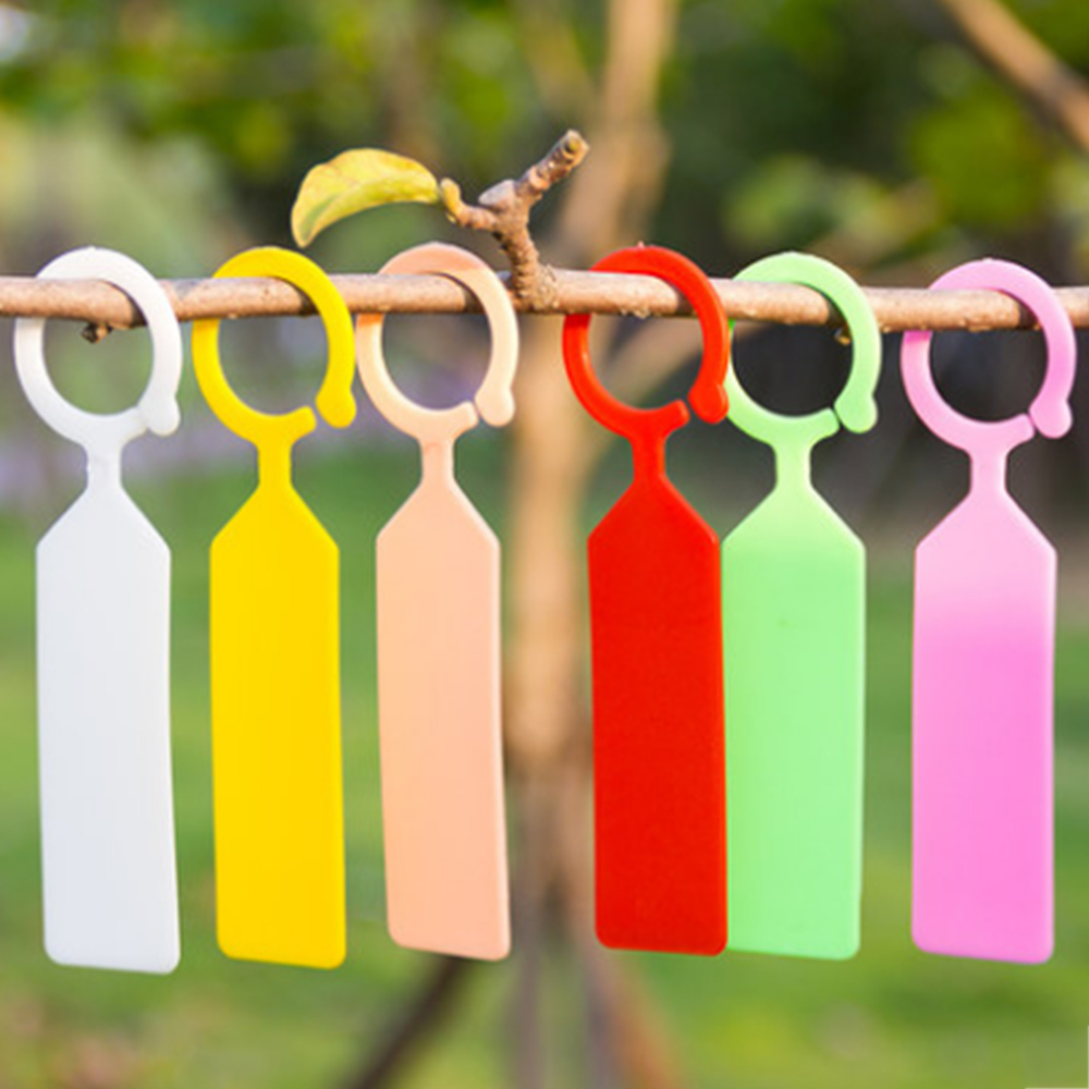 50PCS Plastic Plants Tags Nursery Garden Ring Label Pot Marker Stake Hanging Tags Greenhouse Bonsai Collar Tags
