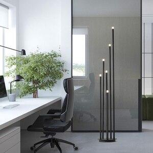 Image 3 - Lámpara LED de pie de rama de diseño, lámpara de pie negra mate de 12W para sala de estar nórdica, dormitorio, arte, decoración del hogar, iluminación de suelo