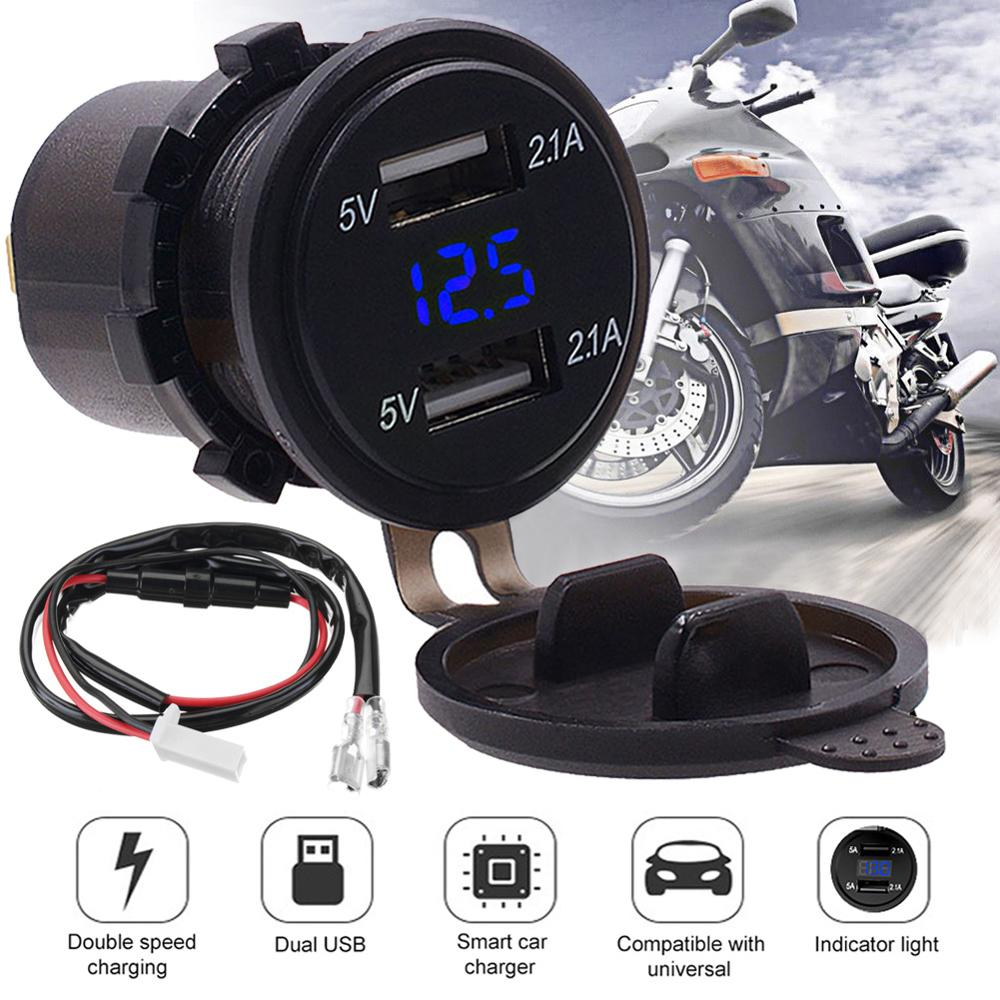 Dual USB Charger Socket Car Motorcycle 12V 4.2A Blue LED Light Voltage Voltmeter 2.0 Usb Motorcycle Charger For Mobile Phones