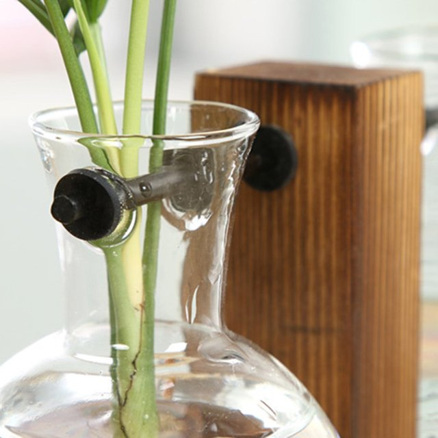 Vintage Hydroponic Plant Vases Transparent Flower Pot Wooden Frame Glass Tabletop Plants Vase For Home Bonsai Decor