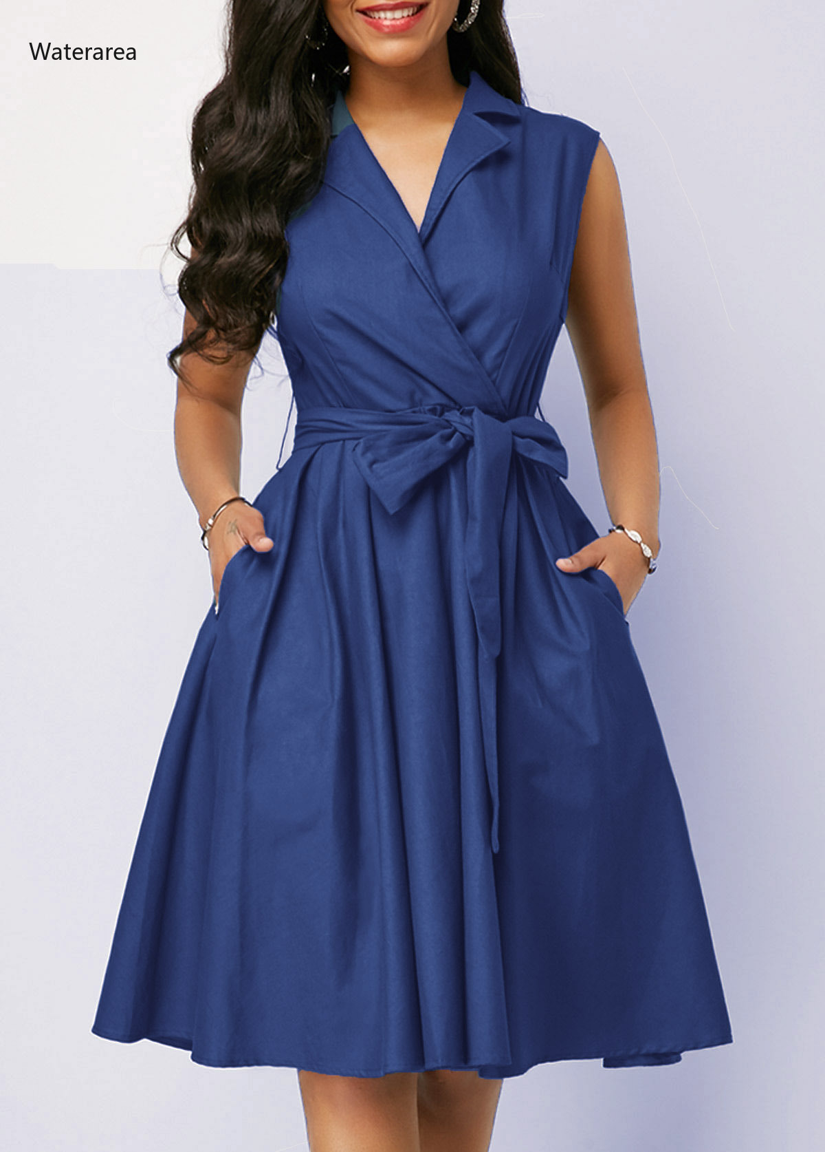2019 New Summer Plus Size Women Turn-Down Collar Sleeveless Pure Color Lace-Up Waist With Wide Sexy Big Swing Dress ZB00651 1