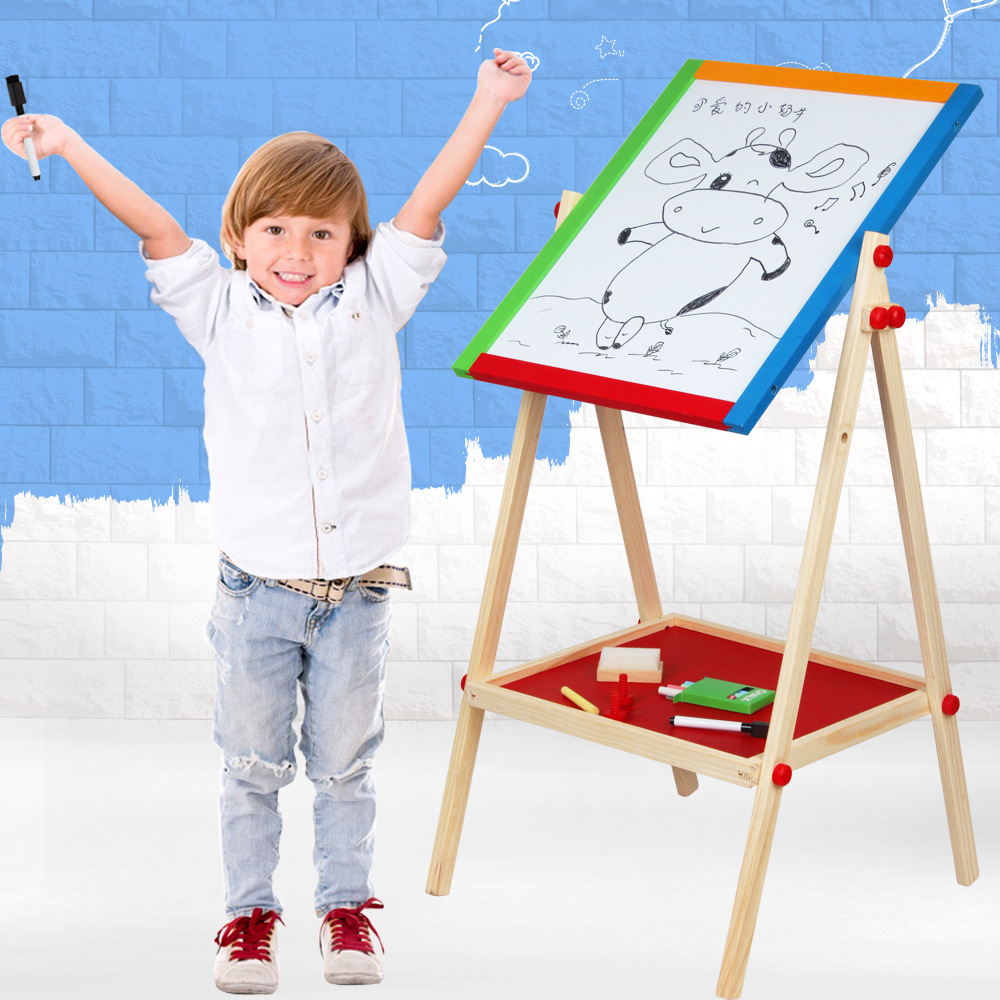 Clever Carpenter Color Wooden Adjustable Da Hua Ban Double-Sided Magnetic Painted Drawing Board