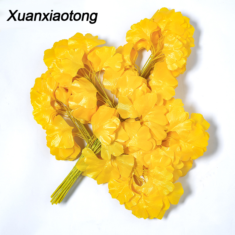 Xuanxiaotong 12Rama set Yellow Ginkgo Leaves Artificial Plants for Home Autumn Outdoor Garden Tree Branches Decoration in Artificial Plants from Home Garden
