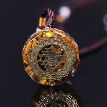 Colar de energia de olho de tigre de geometria sagrada pingente de sri yantra para mulheres jóias masculinas