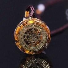 Collier Orgonite Sri Yantra, pendentif à géométrie sacrée, œil de tigre, énergie, bijoux pour femmes et hommes