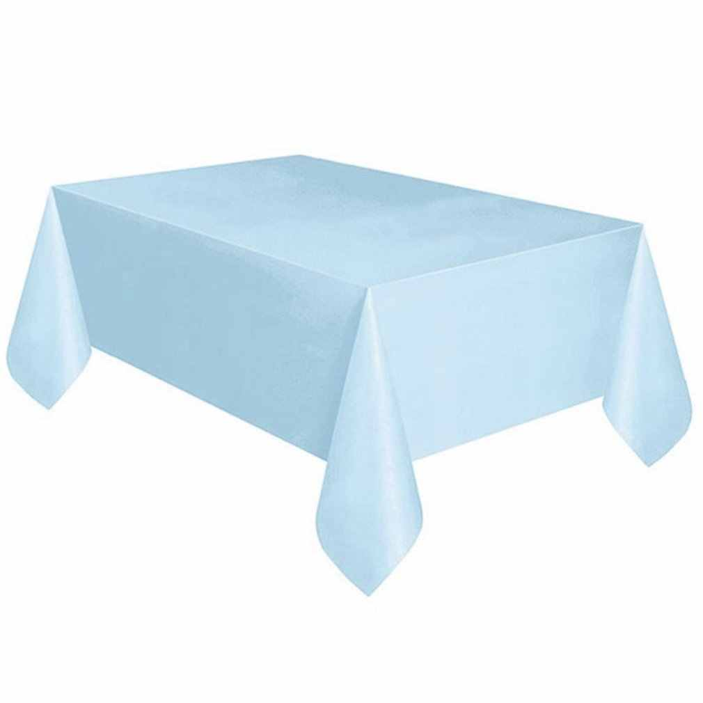 Disposable Party Tablecloth Pe Plastic Cloth Birthday Dessert Table Solid Color Tablecloth 137*274Cm