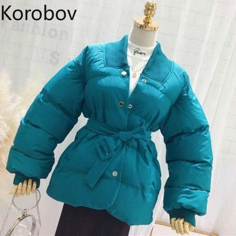 Korobov корейский длинный рукав с v-образным вырезом сплошной тонкий женские парки зимние теплые однобортные куртки винтажные женские пальто ...