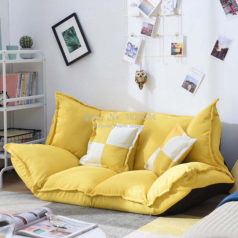High Quality Linen Fabric Adjustable Floor Sofa Bed Lounge Sofa Bed Floor Lazy Man Couch Living Room Furniture with 2 pillow