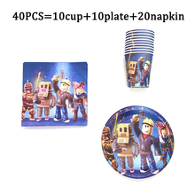 Hot sale roblox printed game supplies birthday party decor disposable dinnerware tableware paper cup plate napkin Roblox Party