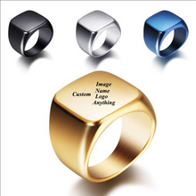 Personalized Mens Signet Rings Stainless Steel Engraving Band Customize Engrave Male Jewelry Fraternal BFF Custom Gift