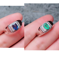 Fashion 1Ct Natural Sapphire or Emerald S925 Silver Rings for Men Gifts 5*7mm Fine Jewelry Real Blue Green Gemstone Certificate