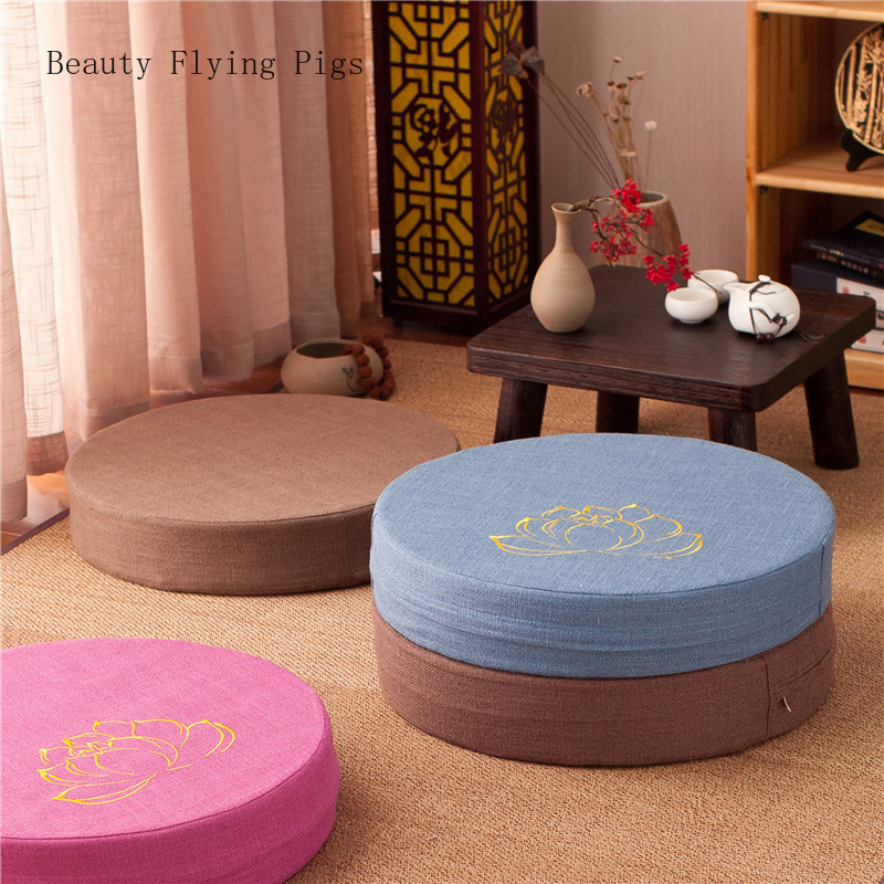 Japanese-style Futon Worship Buddha Sitting Cushion Fabric Washable Round Linen Balcony Window Tatami Mat Meditation Lotus