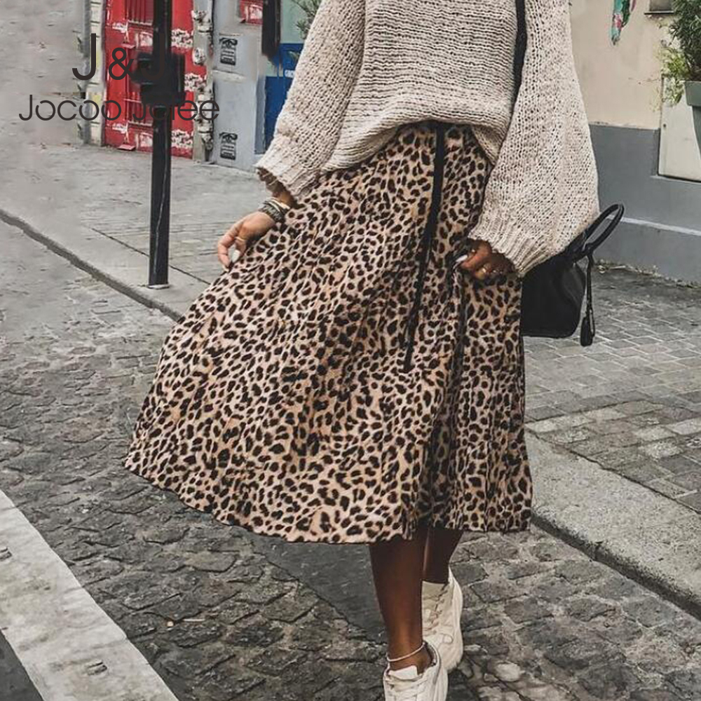 Jocoo Jolee Skirt Women Leopard Print Pleated Skirts Vintage Drawstring Elastic Waist Midi Skirts Casual Korean A Line Skirt