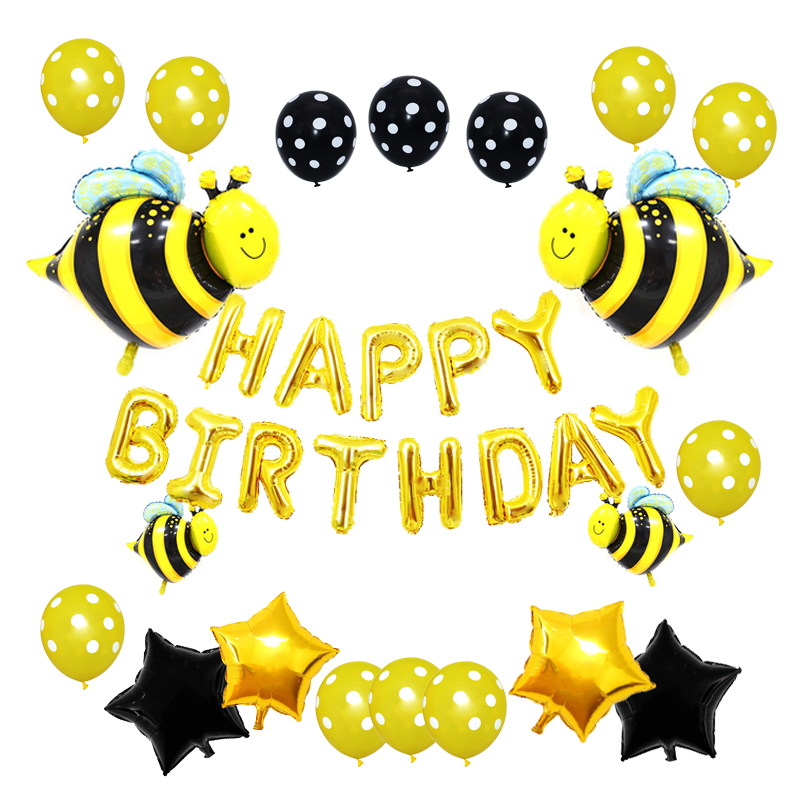 Big Yellow <font><b>Bee</b></font> Balloons for Honey <font><b>Bee</b></font> Themed Birthday <font><b>Party</b></font> Baby Shower <font><b>Supplies</b></font> Happy Birthday Aluminum Foil Balloons Decor image