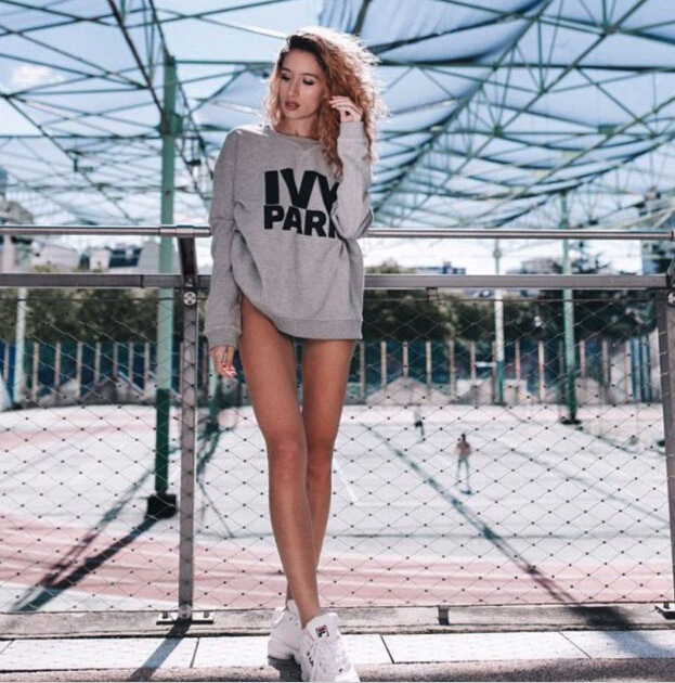9130 # AliExpress Hot Selling Europe And America WOMEN'S Dress Ivy Park Printed Letter Crew Neck Long Sleeve Plus Velvet Hoodie