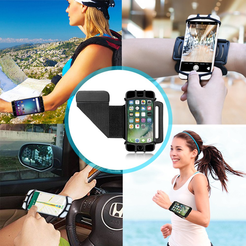 Outdoor 180° Mobile Phone Running Phone Bag Wristband Belt Jogging Cycling Gym Arm Band Holder Wrist Strap Bracket Stand Support