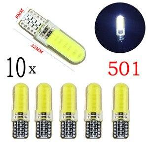 Image 3 - 10 шт. светодиодный свет автомобиля COB W5W T10 Белый Клин свет автомобилей маленькие лампочки светоизлучающие диодные багажная лампа силикон желтый