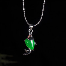 925-Silver Necklace Amulet Fish-Pendant Green Jade Jewelry-Accessories Chinese Charm