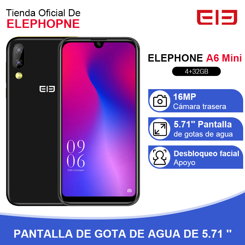 Elephone A6 Mini 4GB 32GB Smartphone 5.71 Inch Waterdrop Screen Mobile Phone Android 9.0 MT6761 Quad Core HD+ 16MP 3180mah 4G