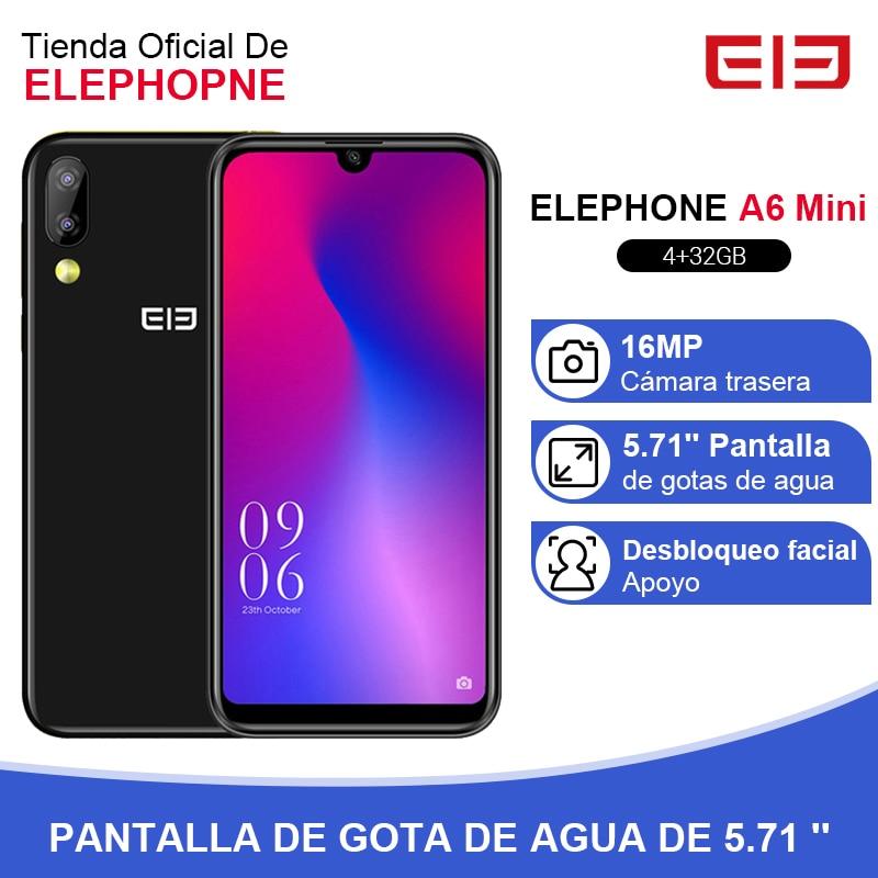 Elephone A6 Mini 4GB 32GB Smartphone 5.71 Inch Waterdrop Screen Mobile Phone Android 9.0 MT6761 Quad Core HD+ 16MP 3180mah 4G