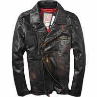 2019 Vintage Braun männer Biker Leder Jacke Diagonal Zipper Plus Größe 6XL Echtem Rinds Slim Fit Amerikanischen Motorrad Jacke