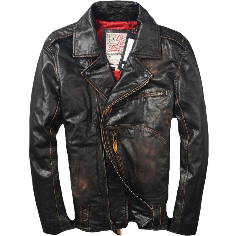 2019 Vintage Brown degli uomini di Giacca di Pelle Biker Diagonale Della Chiusura Lampo Più Il Formato 6XL Genuino Della Pelle Bovina Slim Fit Americano Giacca Moto