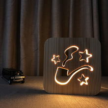 tobacco pipe Wood Carved Led Nightlight USB plug 3D Warm desk Night light Wooden hollow solid pine bedroom LED Table Lamp